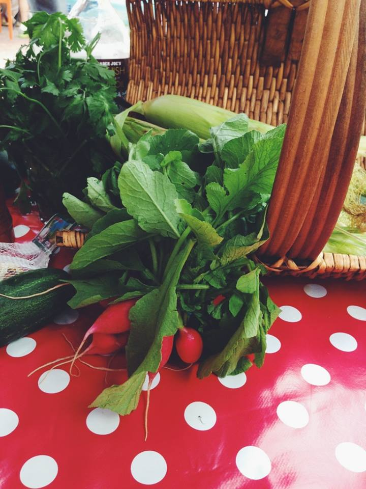 All of the produce came from the vendors at the market. Don't those radishes look delicious?